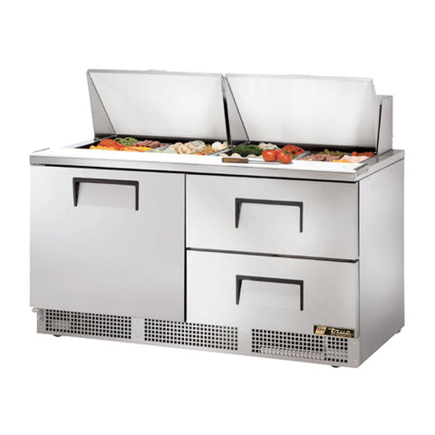 "TRUE 64"" 1 DOOR 2 DRAWER FOOD PREP TABLE - TFP-64-24M-D-2 - Nella Cutlery Toronto"