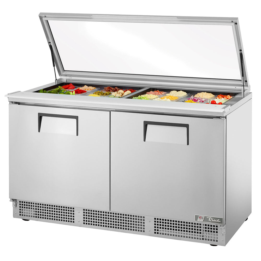 """True TFP-12-12M-FGLID 12"""" 12 Pan Salad / Sandwich Refrigerated Prep Table  with Glass Lid"""
