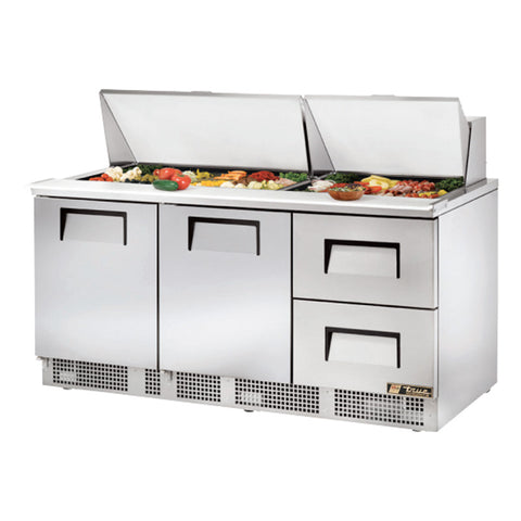 "TRUE 72"" 2 DOOR 2 DRAWERS FOOD PREP TABLE - TFP-72-30M-D-2 - Nella Cutlery Toronto"
