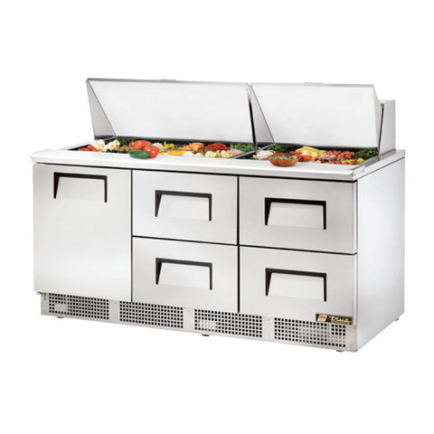 "TRUE 72"" 1 DOOR 4 DRAWERS FOOD PREP TABLE - TFP-72-30M-D-4 - Nella Cutlery Toronto"