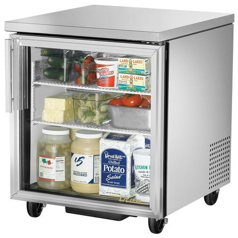 TRUE 1 GLASS DOOR UNDERCOUNTER REFRIGERATOR - TUC-27G-ADA-HC-LD