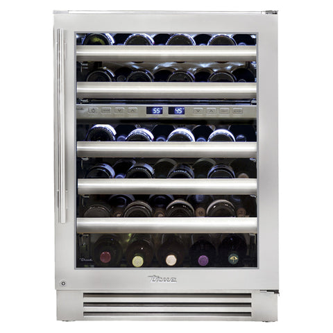 "True TWC-24DZ-R-SG-B 24"" Dual-Zone Wine Cabinet - 45 Bottles"