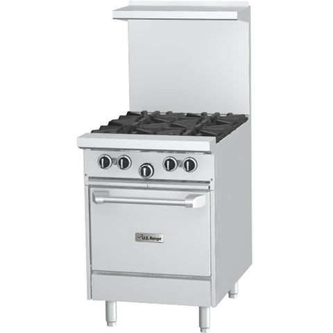 "US Range U24-4L 24"" NG 4-Burner 24"" Gas Range With Space Saver Oven - 160,000 Btu"