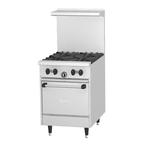 "Garland Sunfire Series X24-4L Natural Gas 24"" 4-Burner Restaurant Range With Space Saver Oven - 145,000 Btu - Nella Cutlery Toronto"