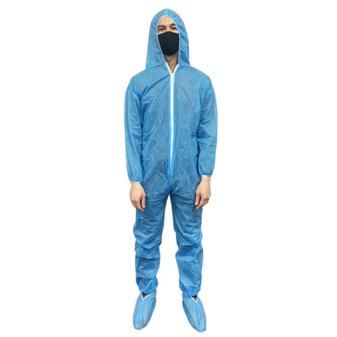 Nella Disposable Hooded Protective Coveralls - Blue - Medium/Large