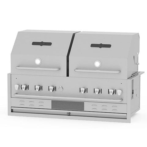 "Crown Verity BI-48PKG-2 48"" Built-In BBQ Grill with 2 Roll Domes - Natural Gas"
