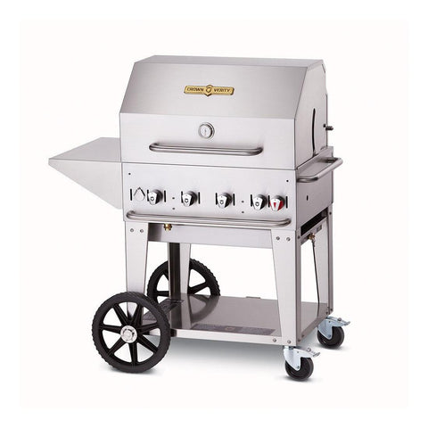 "Crown Verity MCB-30-PKG 30"" Mobile BBQ Grill with Roll Dome Package - Natural Gas - Nella Cutlery Toronto"