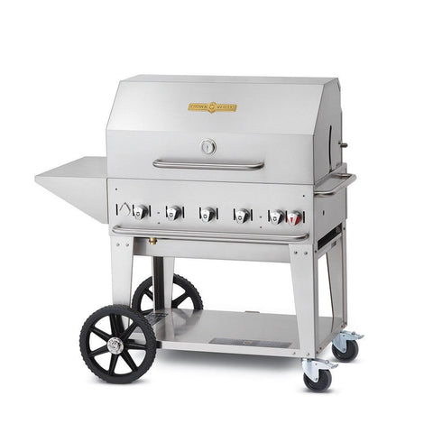 "Crown Verity MCB-36-PKG 36"" Mobile BBQ Grill with Roll Dome Package - Natural Gas - Nella Cutlery Toronto"