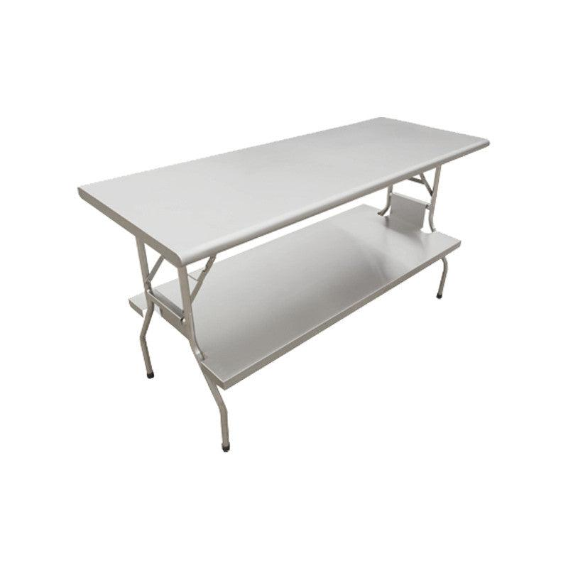 Nella Stainless Steel Folding Table 30 X 72 With Undershelf