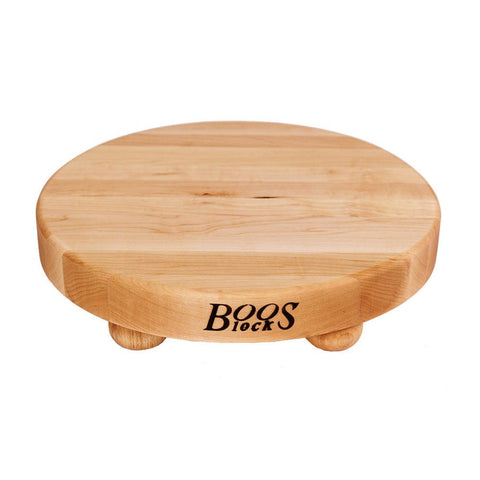 "John Boos B12R 12"" Round Maple Cutting Board with Bun Feet"