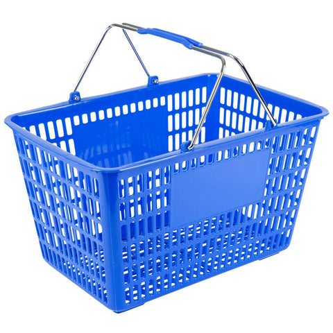 "Nella 18.75"" x 11.5"" Blue Plastic Grocery Shopping Basket - 13023"