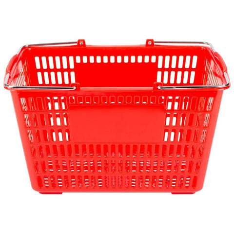 "Nella 18.75"" x 11.5"" Red Plastic Grocery Shopping Basket - 13025"