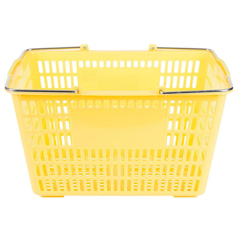 "Nella 18.75"" x 11.5"" Yellow Plastic Grocery Shopping Basket - 13027"