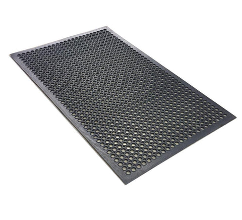 Nella 3' X 5' Black Anti-Fatigue Rubber Floor Mat With Bevel Edge - 23584