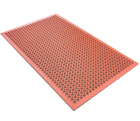 Nella 3' X 5' Terracotta Anti-Fatigue Rubber Floor Mat With Bevel Edge - 23585