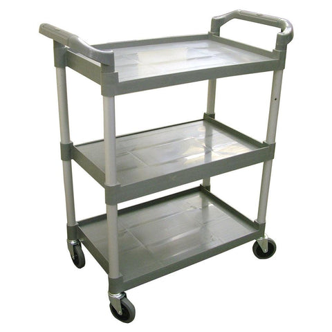 "Nella 32.5"" x 16.25"" x 40"" Grey Bus Cart with 3 Shelves - 18306"