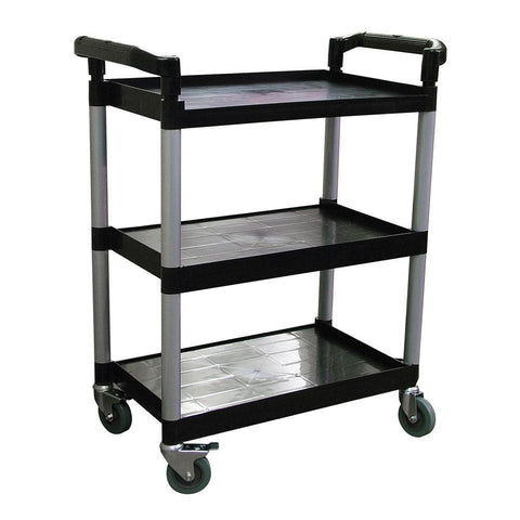 "Nella 32.5"" x 16.25"" x 40"" Black Bussing Cart With 3 Shelves - 24183"
