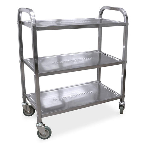 "Nella 29"" x 15.75"" x 35.4"" Stainless Steel Bussing Cart with 3 Shelves - 24418"