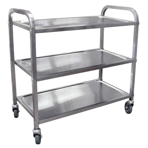 "Nella 33.5"" x 17.6"" x 34.12"" Stainless Steel Bussing Cart with 3 Shelves - 24419"