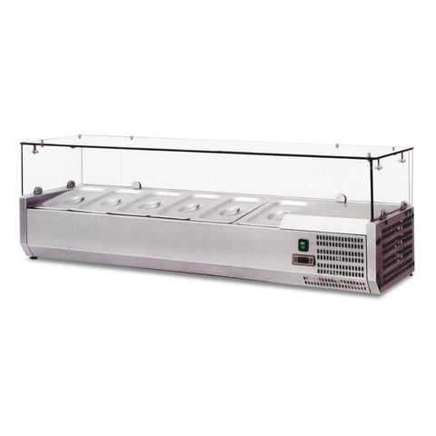 "Nella 59"" Refrigerated Topping Rail with 6-Pan Capacity - 39594"