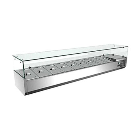 "Nella 79"" Refrigerated Topping Rail with 9 Pan Capacity - 39595"