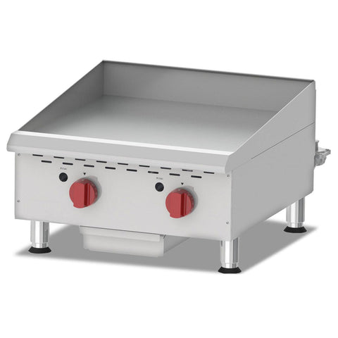 "Nella 24"" Countertop Stainless Steel Gas Griddles With Thermostatic Control With 2 Burners - G24T - 43017"