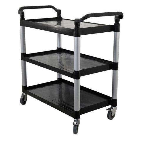 "Nella 40.75"" x 19.5"" x 39"" Black Bus Cart With 3 Shelves - 43069"