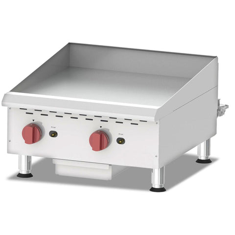"Nella 24"" Countertop Stainless Steel Gas Griddle With Manual Control & 2 Burners - G24M - 43730"