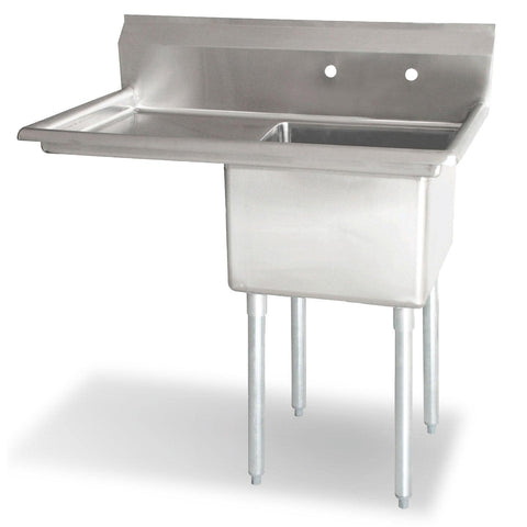 "Nella 18"" x 18"" x 11"" One Tub Sink with Centre Drain and Left Drain Board - 43760"