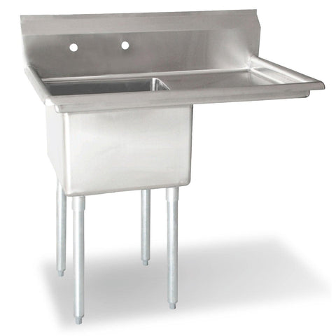 "Nella 18"" x 18"" x 11"" One Tub Sink with Centre Drain and Right Drain Board - 43762"