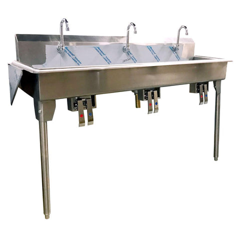 "Nella 60"" x 14"" x 7"" Three-Station Trough Hand Sink with Knee Pedals and Spouts"