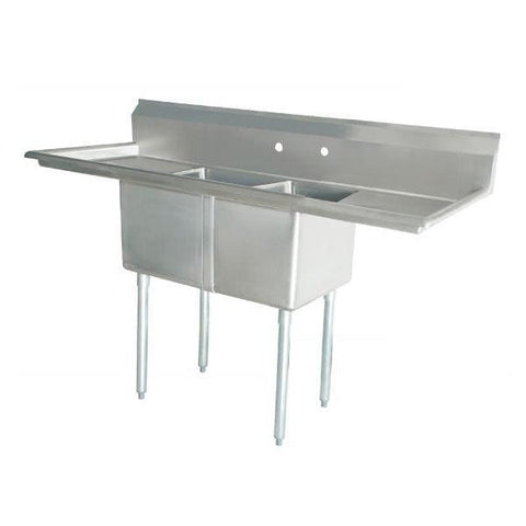 "Nella 18"" x 18"" x 11"" Two Tub Sink with Corner Drain and Two Drain Boards - 25252"
