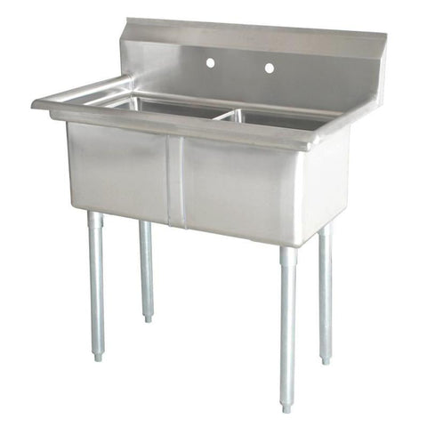 "Nella 18"" x 21"" x 14"" Two Tub Sink with Centre Drain and No Drain Board - 43780"