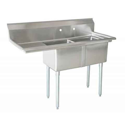 "Nella 18"" x 21"" x 14"" Two Tub Sink with Centre Drain and Left Drain Board - 43779"