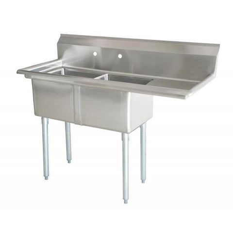 "Nella 18"" x 18"" x 11"" Two Tub Sink with Centre Drain and Right Drain Board - 43770"