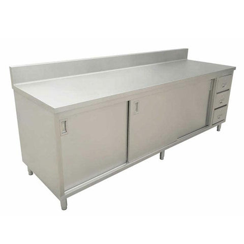 "Nella 24"" x 60"" Stainless Steel Work Table with Cabinet, Drawers and 6"" Backsplash - 43484"