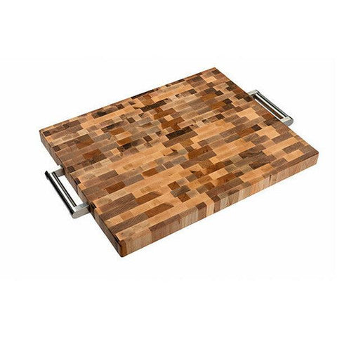 "Planches Labell L16208 16"" x 20"" x 1.5"" Butcher Block with Stainless Steel Handles"