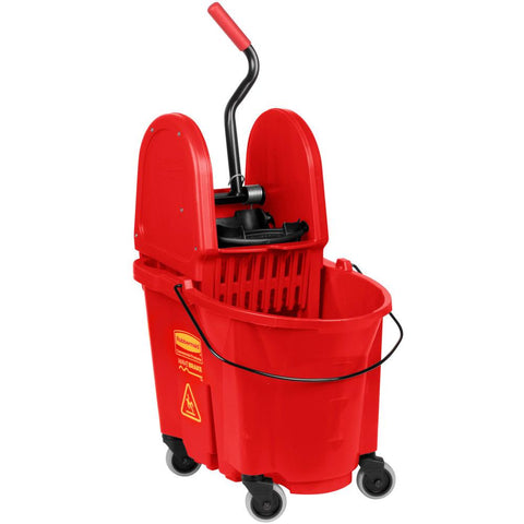 Rubbermaid FG757888RED 35 Qt. Wavebrake Red Mop Bucket With Down Press Wringer