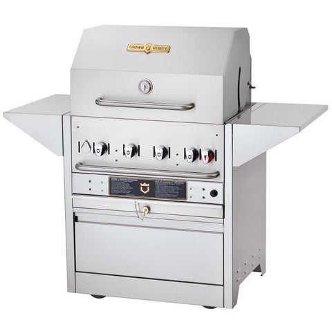 "Crown Verity MBI-30 Hotel Series 30"" Natural Gas Cart Grill - 64,500 Btu - Nella Cutlery Toronto"