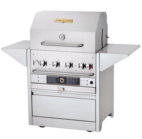 "Crown Verity MBI-36 Hotel Series 36"" Liquid Propane Cart Grill - 79,500 Btu - Nella Cutlery Toronto"