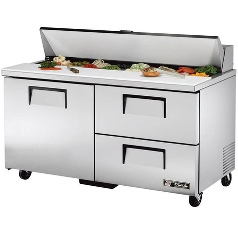 "TRUE 60"" 16 PAN SALAD/SANDWICH PREP TABLE WITH ONE DOOR AND 2 DRAWERS - TSSU-60-16D-2"