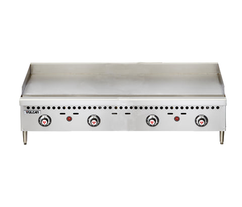 "Vulcan VCRG48-T Restaurant Series Countertop 48"" Thermostatic Natural Gas Griddle - 100,000 BTU/hr"