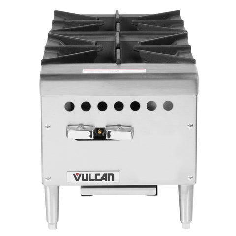 "Vulcan VCRH12 Restaurant Series Countertop 12"" 2-Burner Gas Hot Plate - 50,000 BTU/hr"