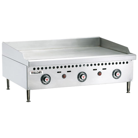 "Vulcan VCRG36-T Restaurant Series Countertop 36"" Thermostatic Natural Gas Griddle - 75,000 BTU/hr"
