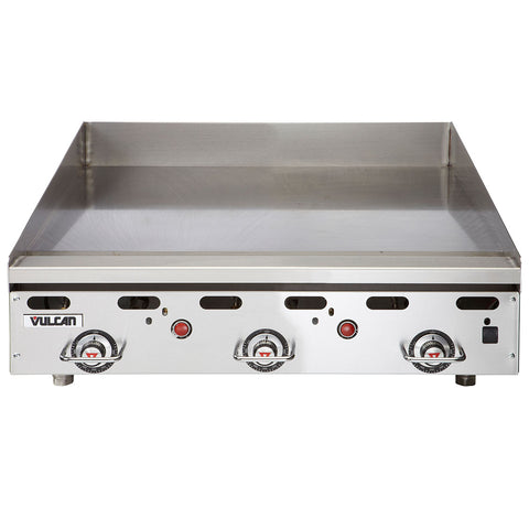 "Vulcan MSA36 Heavy-Duty 36"" Countertop Thermostatic Natural Gas Griddle - 81,000 BTU"