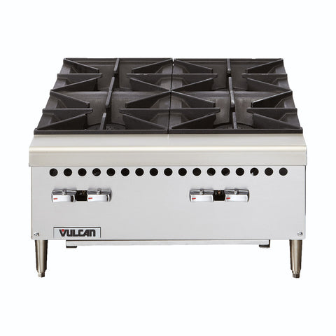 "Vulcan VCRH24 Restaurant Series Countertop 24"" 4-Burner Gas Hot Plate - 100,000 BTU/hr"