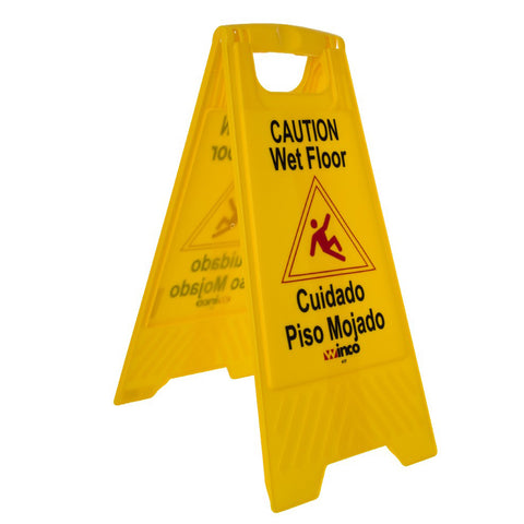 WINCO WCS-25 YELLOW 2-SIDED WET FLOOR CAUTION SIGN