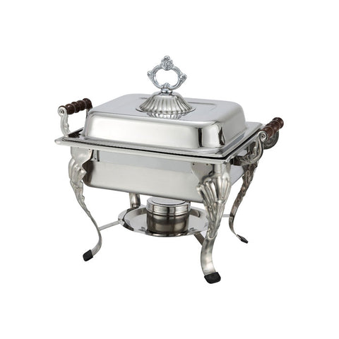 Winco Crown 4 Qt. Stainless Steel Half-Size Chafer - 508