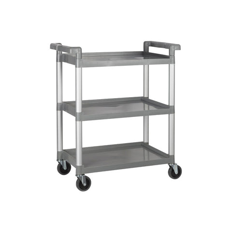 "Winco 32"" x 16"" x 36.75"" Grey 3-Tier Utility Cart - UC-2415G"