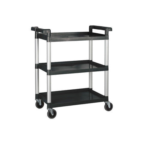 "Winco 32"" x 16"" x 36.75"" Black 3-Tier Utility Cart - UC-2415K"